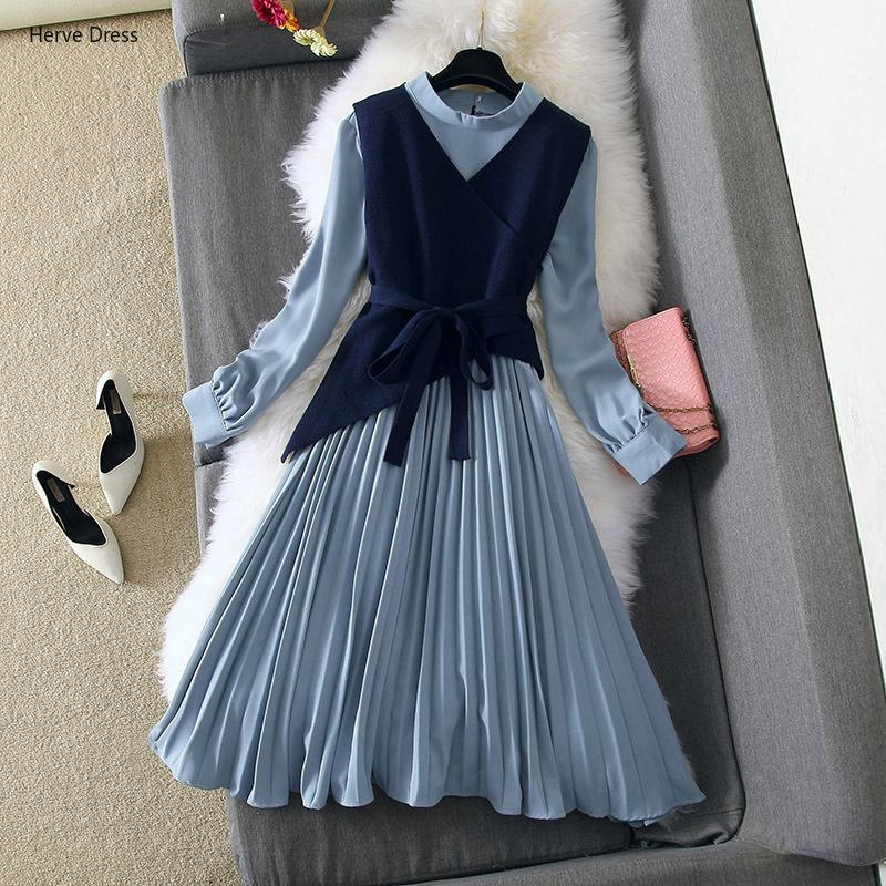 Winter for Women Suit Elegant Sleeve Knit Bodycon Mid-calf Long Sweater Pleated Set Casual Female Full Dress