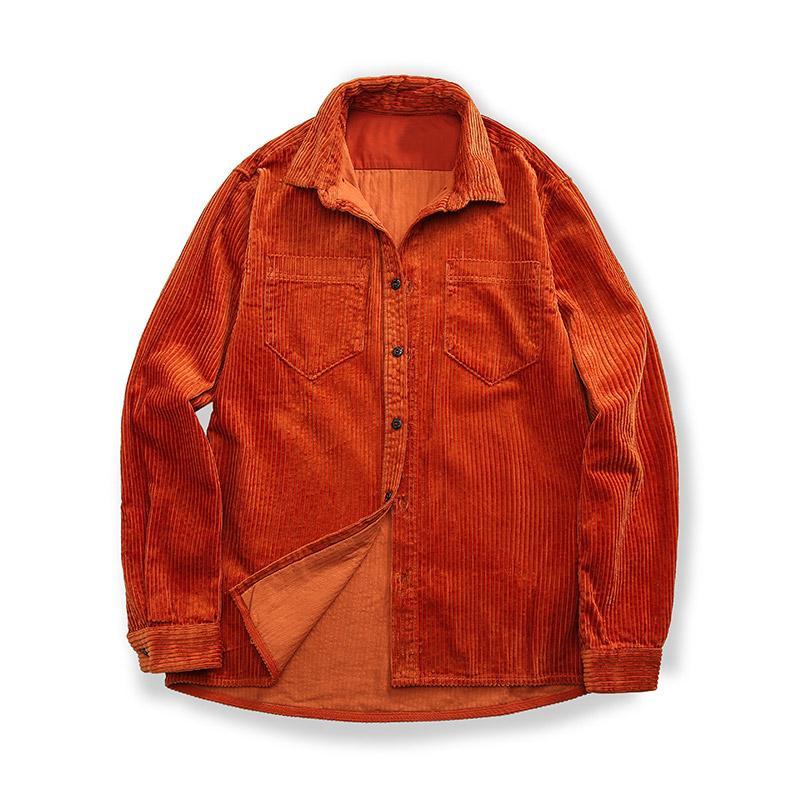 Mode-Stein Piraten 20ss Frühling und Herbst neue Art Corduroy Herren-Revers-Shirt Normallack einfacher Stil