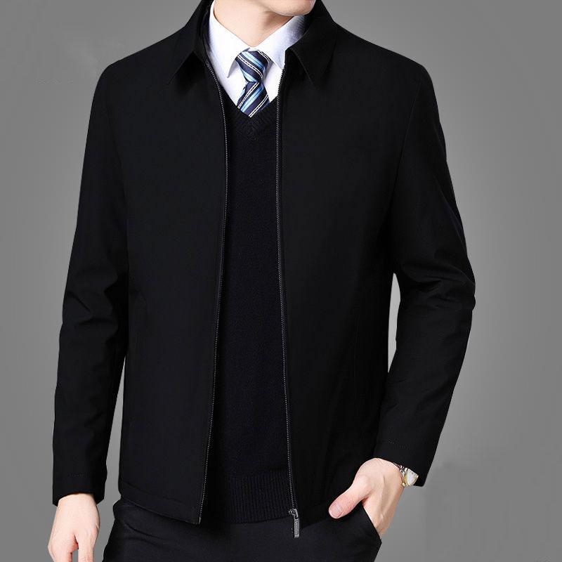 Erkek ceketler Ve Palto Yaka Kış Ceket Fermuar Yan Cep Erkek Giyim 2020 Moda Uzun Kollu Coat Erkekler Turn Down