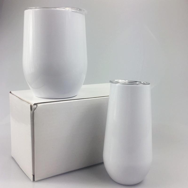 6oz 12oz sublimation Wine glasses white stainless steel Egg Cup with lid Double Vacuum Insulated tumbler FedEX