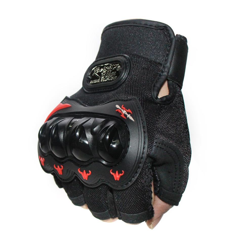 Motociclismo esportes ao ar livre equitação metade do dedo luvas de proteção punho casca dura luvas anti-colisão.
