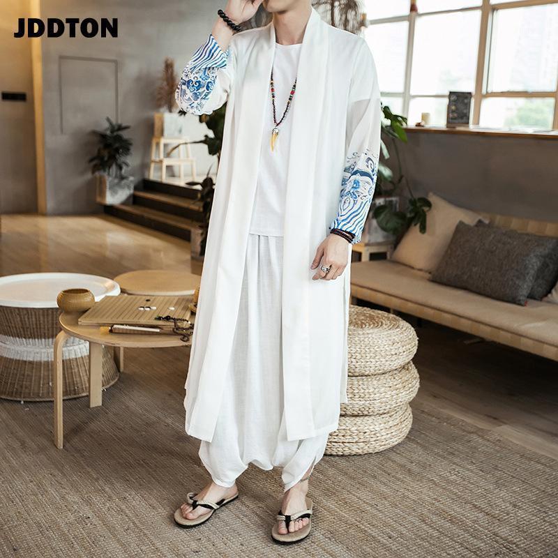 JDDTON Мужская шифоновая ветровка в кимоно винтажная длинная длина куртки китайский стиль свободный солнцезащитный крем мужская национальная улица JE1691