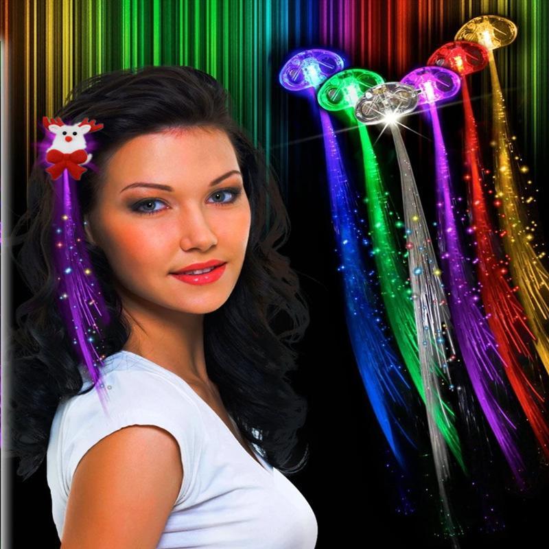 colorido fibra de flash de la mariposa de seda 1Halloween decoración nuevo producto dirigido trenza luminosa de horquilla óptica trenza colorida peluca clip1