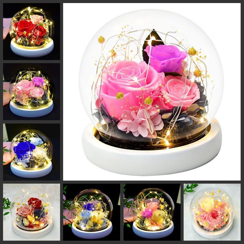 Fleur préservée rose verre globe immortel affichage dôme couverture préservation ornement valentines cadeau cadeau maison beau décor
