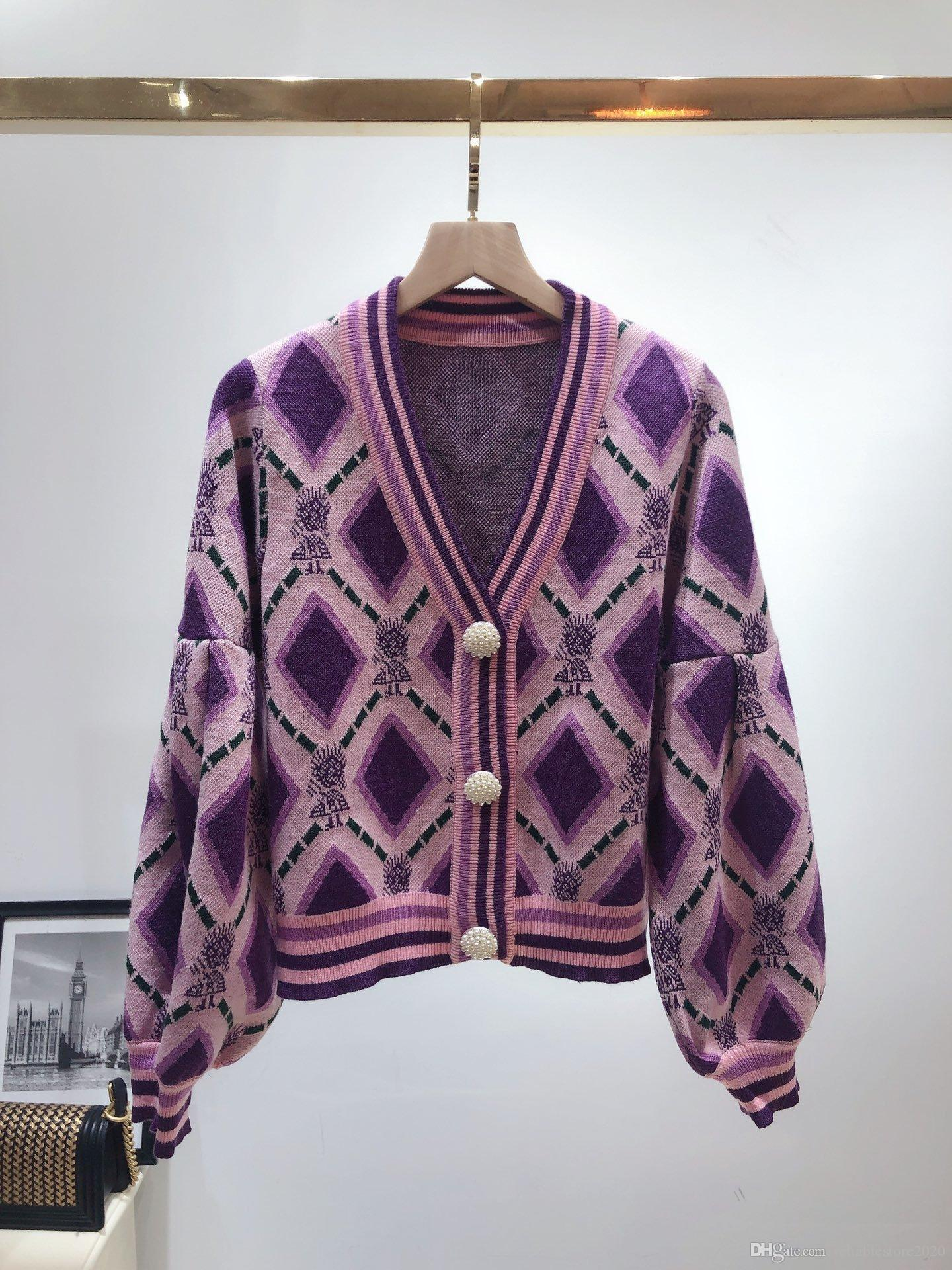 2020 Autumn winter Europe goods new sweater cardigan western style jacket V-neck wear long-sleeved fashionable flower sweater