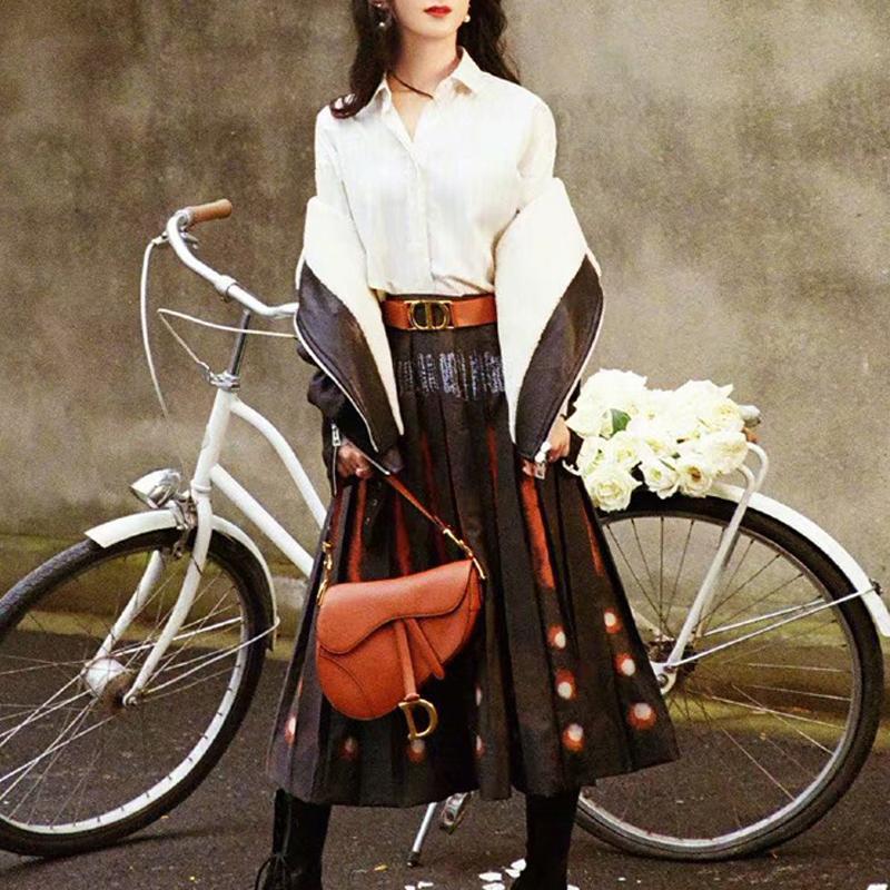 2021 Spring nouvelle chemise rétro à manches longues à manches longues à manches longues avec impression grande jupe costume vêtements ZSGM