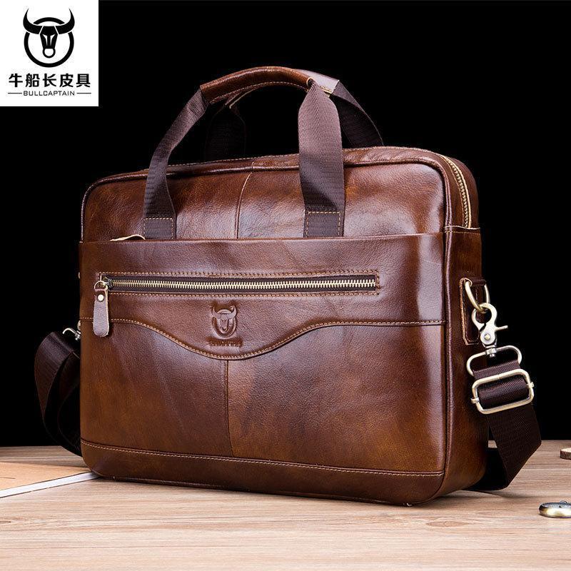 Briefcases Bulcaptain 2021 Borsa assacata da uomo vintage in pelle reale / borsa business casual moda bovina bodana bovina maschile
