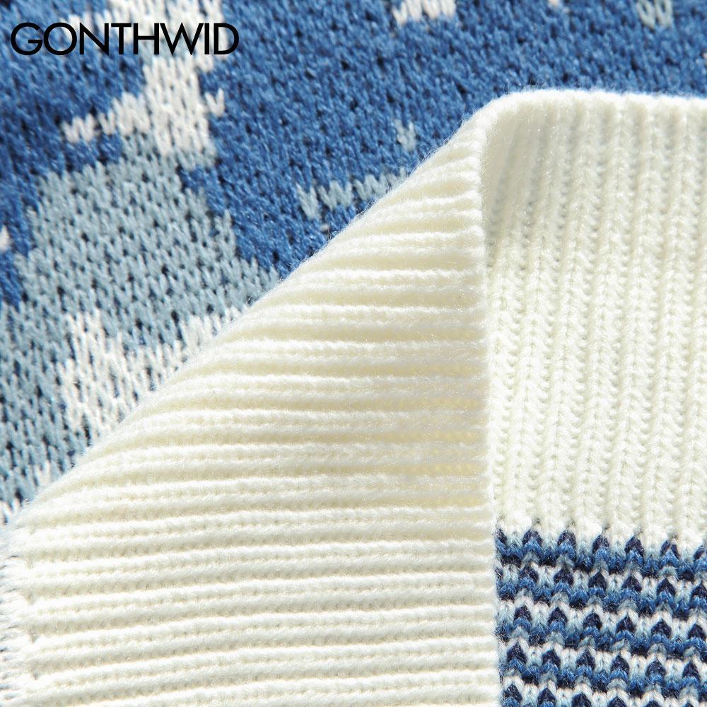 GONTHWID Snow Mountain lavorato a maglia Maglione Maglioni Streetwear Mens Hip Hop Harajuku Pullover Maglieria Top Fashion Knit Outwear maschile