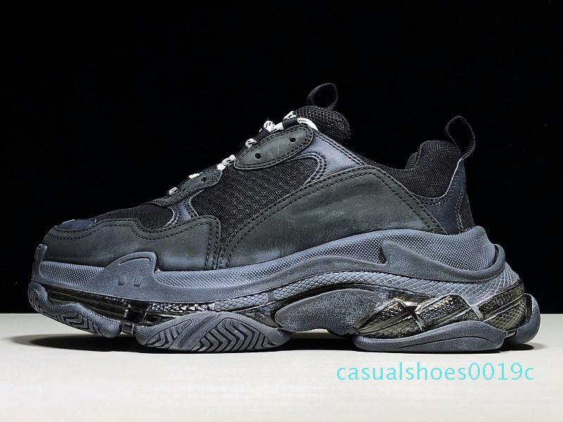 Paris Günlük Ayakkabılar Triple-S Clear Sole Eğitmenler Baba Ayakkabı Sneaker Kombinasyon Kristal Alt Womens Ayakkabı Moda Leisure Chaussures 19c