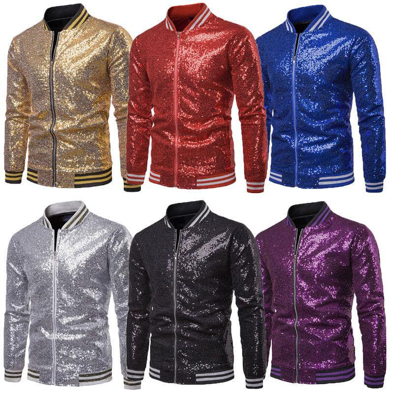 Men's Jackets 2021 Fashion Sequins Coat Long Sleeve Zip Up Jacket Outwear Club Party Sequined Coats Formal Business Stage Suit