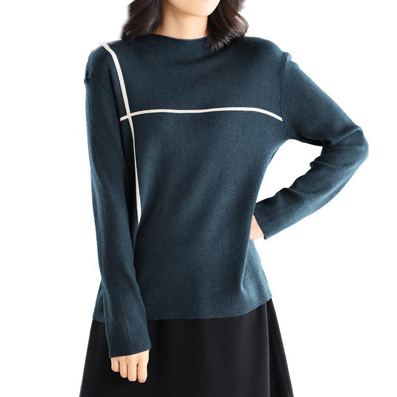 여성 스웨터 여성 기본 스웨터 풀오버 탑 스트라이프 레트로 빈티지 캐주얼 따뜻한 봄 가을 탄성 브랜드 A12091505