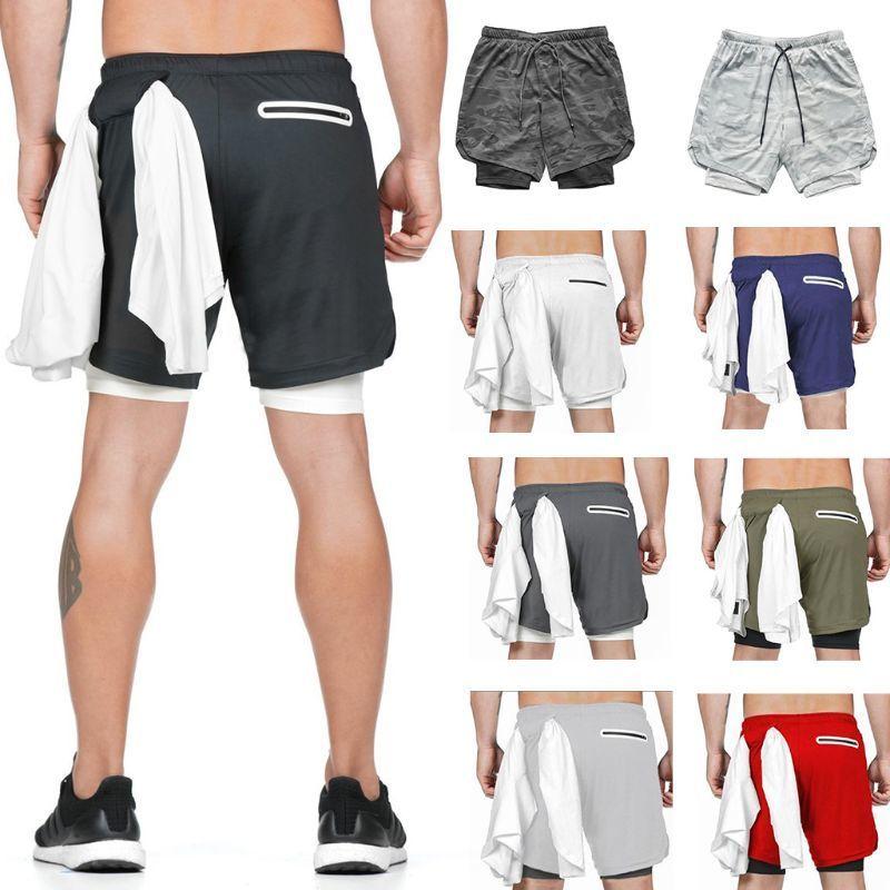 Hombres 2 en 1 Entrenamiento Ejecutar pantalones cortos Gimnasio Entrenamiento Deporte Malla de compresión Pantalones cortos de secado rápido con teléfono Pocket Towel Loop S-3XL J0104