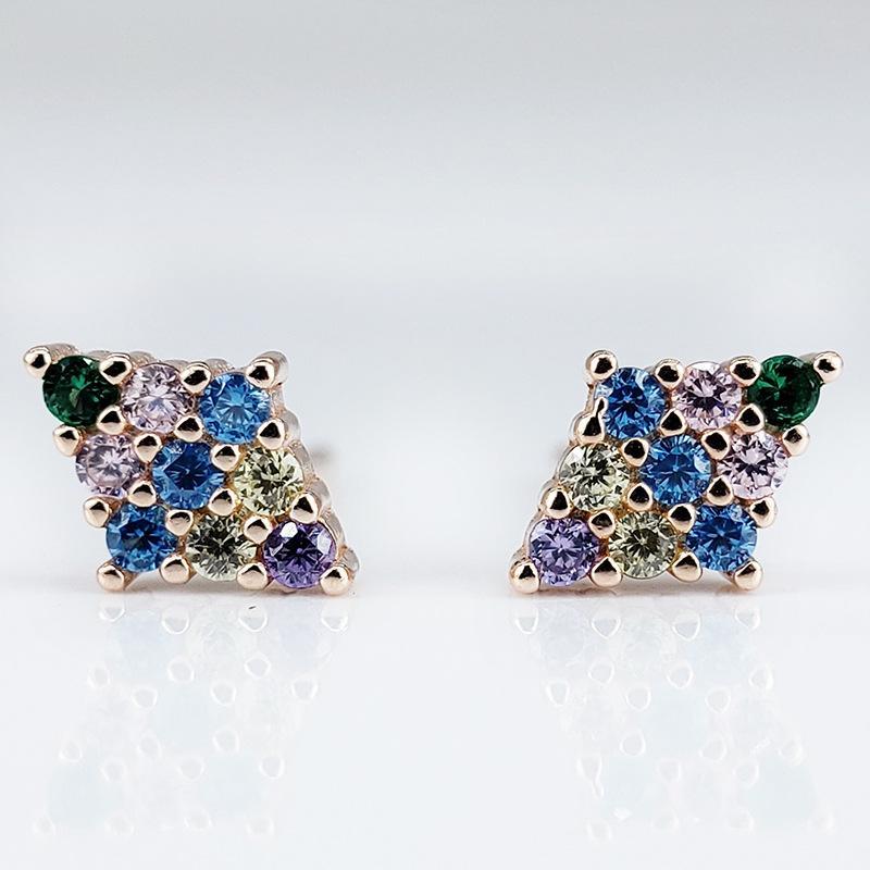 Koreanischer Stil S925 Dreidimensionale volle Diamant Geometrische Ohrstecker Modernes All-Match-Elegante Damen Silber Ohrringe Mädchen Schmuck