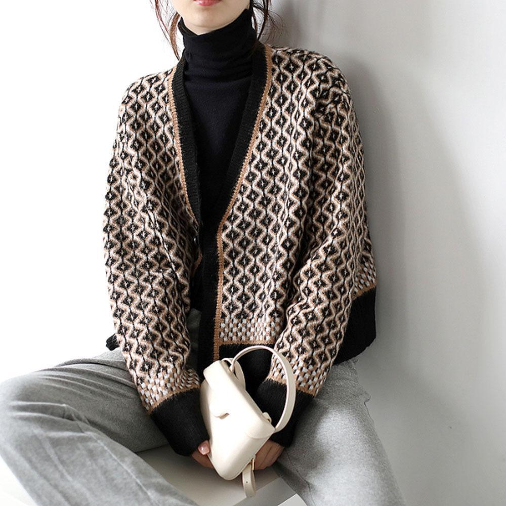 Jaqueta de camisola Casaco Mulheres Outono Inverno Novo Retro Solto Preguiçoso V-Pescoço Curto Rhombus Knit Tops Japonês Feminino Camisola 201029
