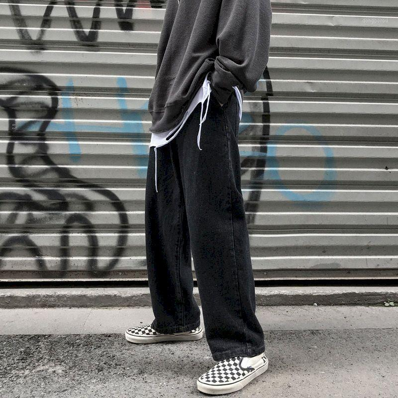 Светлые джинсовые брюки мужские модные модные свободные ruffian красивые девяти точечные брюки мужская драпировка широкогазовая прямая мошенник pant1