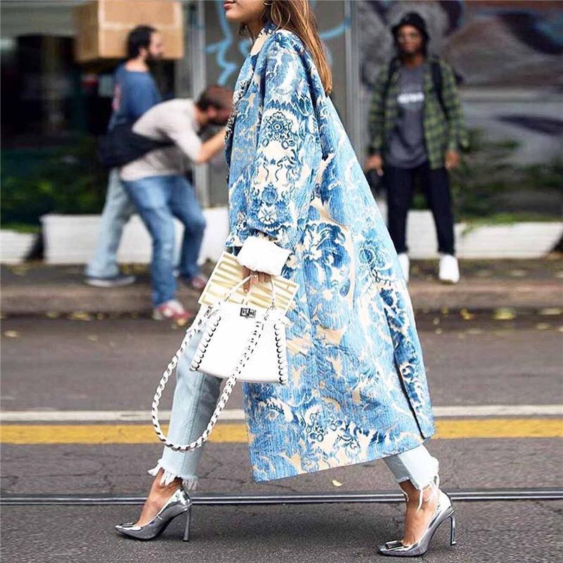 Partido de manga larga elegante de la vendimia patrón floral para mujer Manera- otoño chaqueta larga impresa Mezclas abrigos Mujer Mujer abrigos de invierno