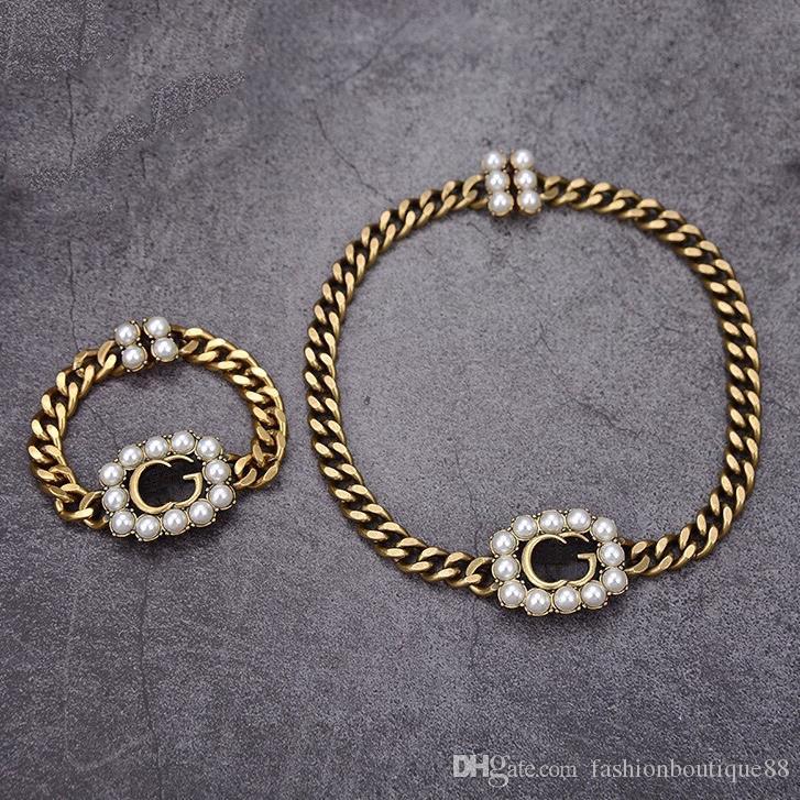 مصمم مصمم فاخر مجوهرات النساء قلادة قلادة اللؤلؤ قلادة مع اللون الماس النحاس الرجعية أساور الذهب والسلاسل الأزياء والمجوهرات