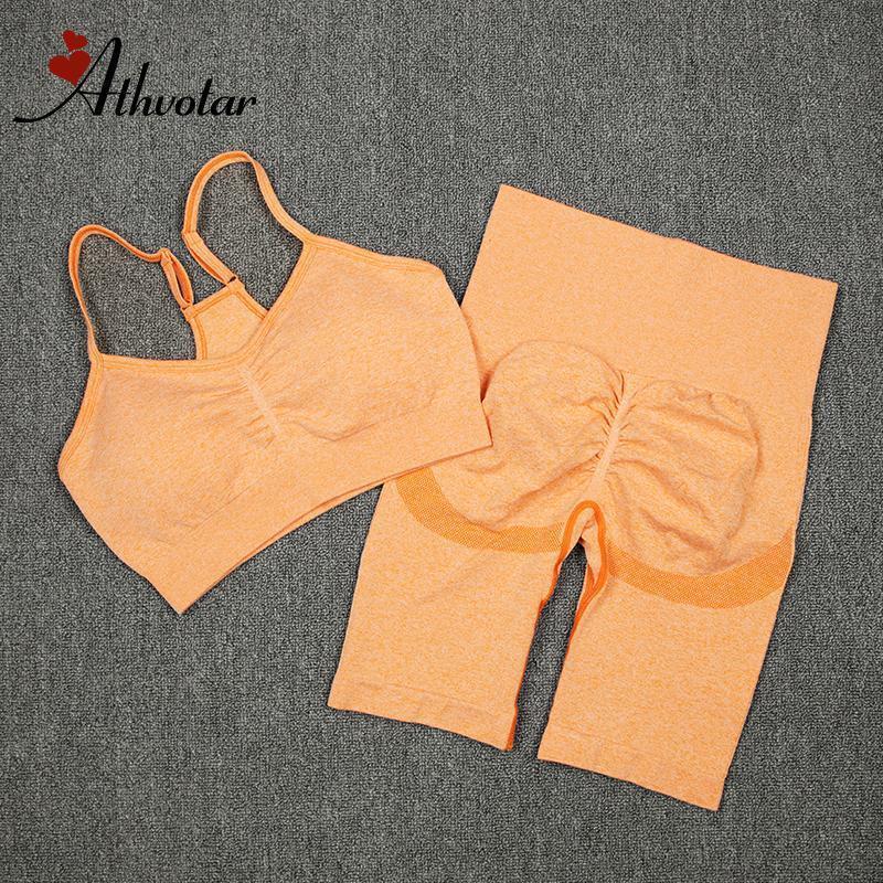 Outfits yoga ATHVOTAR 2 шт. Женский спортивный костюм тренажерный зал набор сексуальный бюстгальтер бесшовные шорты тренировки бегущий одежда носить атлетический