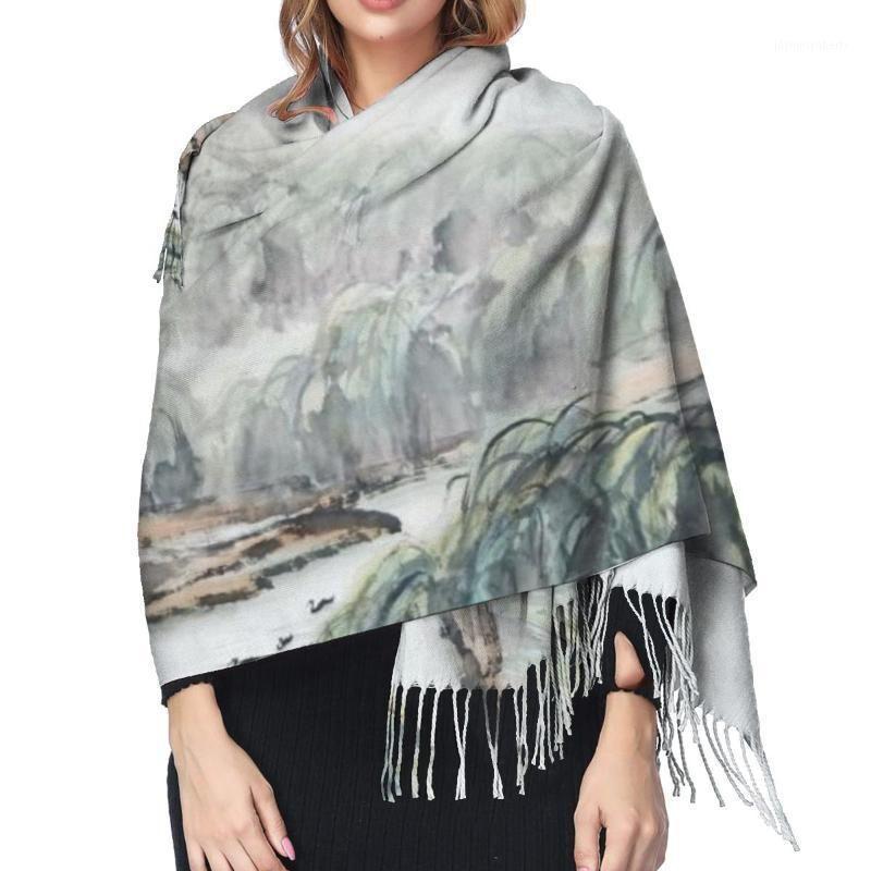 Scarves WHEREISART 2021 Winter Women Scarf Female Lady Tassel Chinese Style Ink Landscape Trees Shawl Wraps1