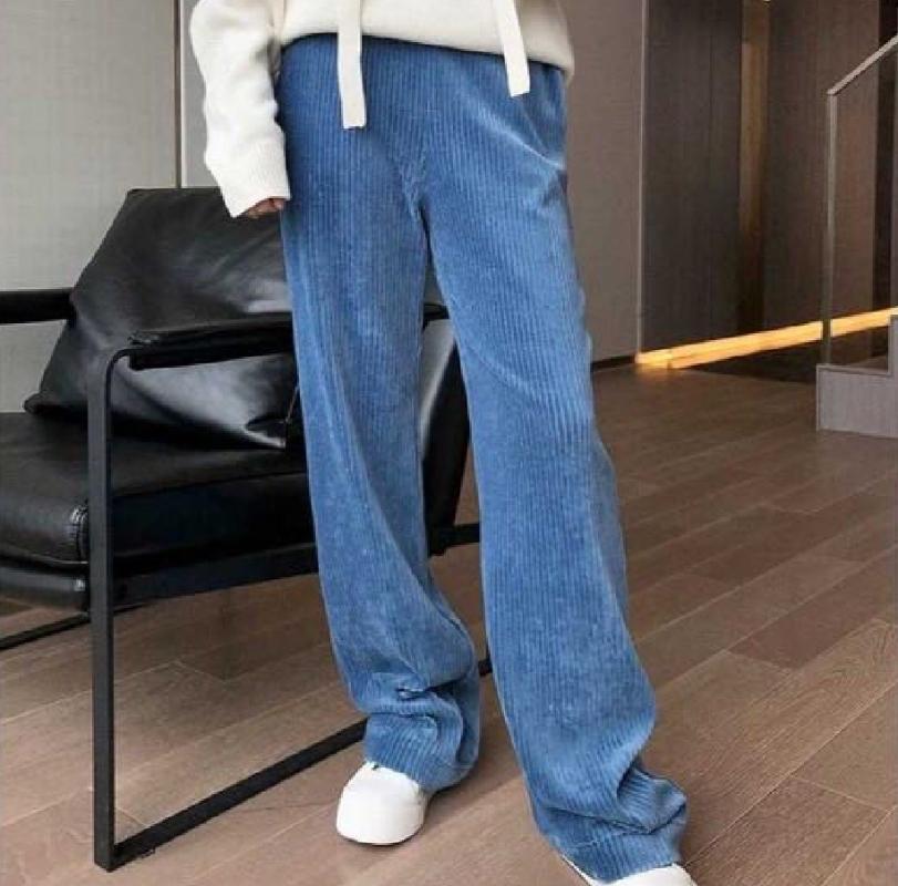 Women Pants Corduroy Pants Loose Straight Knit Wide Leg Wide Leg High Waist