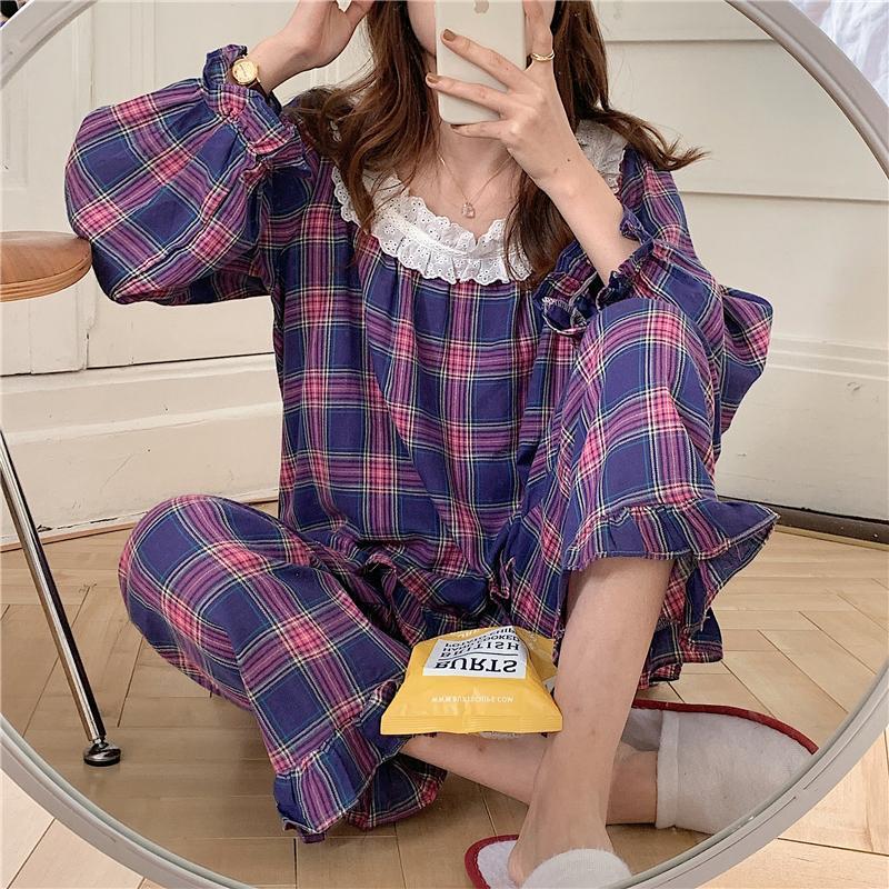 Чужеродные Kitty 2020 Plaid Gentle Двухсекционных костюмов Chic Женщина Сладкая мода пижама Lace Симпатичного мягкие Сыпучие Пижамы Свежей Главная Одежда