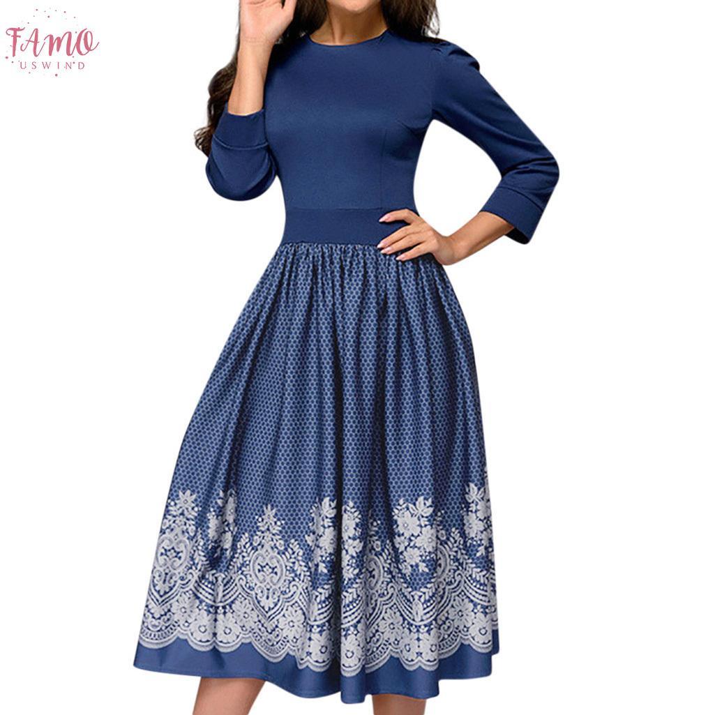 Vestido de festa de verão Mulheres Impressão Vintage Três Quarter Sleeve Vestidos Casuais Festa Mulher Gótico Vestido Mulheres Roupas 2020