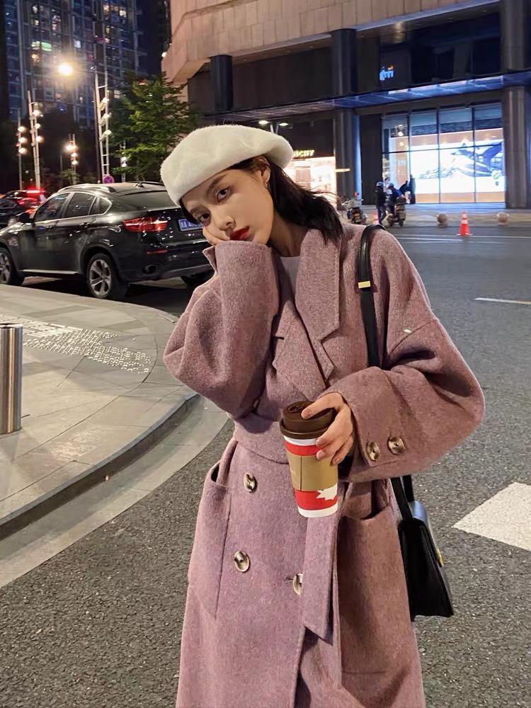 Ropa exterior de lana Mujer media y larga invierno 2020 Nuevo estilo Popular Coreano Flojo Woolen Abrigo
