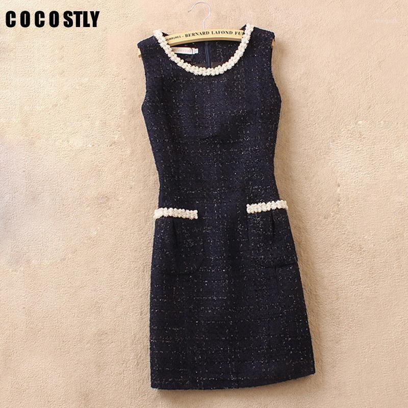 Robe de tweed d'hiver de marque cocostale femme en laine de laine de laine sans manches de laine décontractée robe de gilet slim ajustement élégant bureau plus taille1