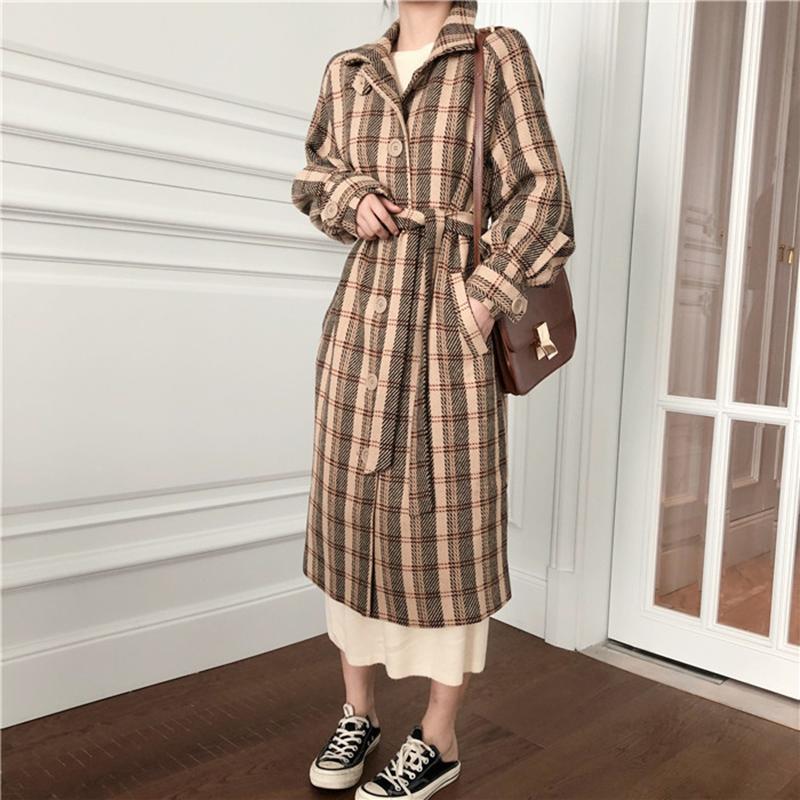 Femmes Hiver Vintage Plaid Long Wool Manteau Jacket Taille Slim Collier Bouton de survêtement en laine Cardigan Vêtements de dessus