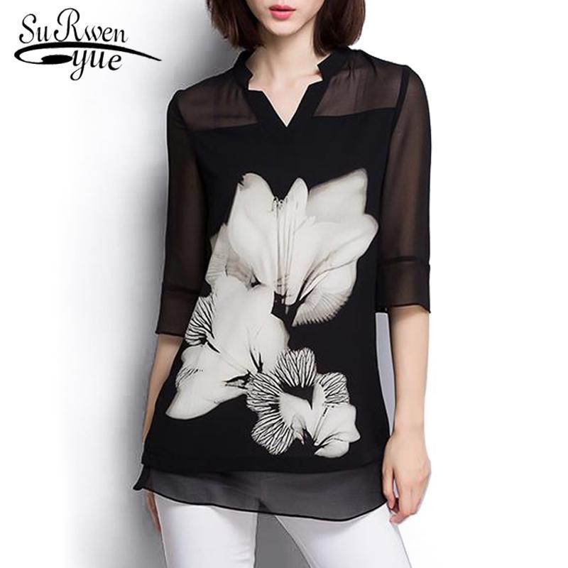 Kadın Şifon Bluz Yaz Tops Moda Artı Boyutu Siyah Bluz Kadın Gömlek Uzun Kollu Kadın Giyim Blusas Tops 60c 25 201201