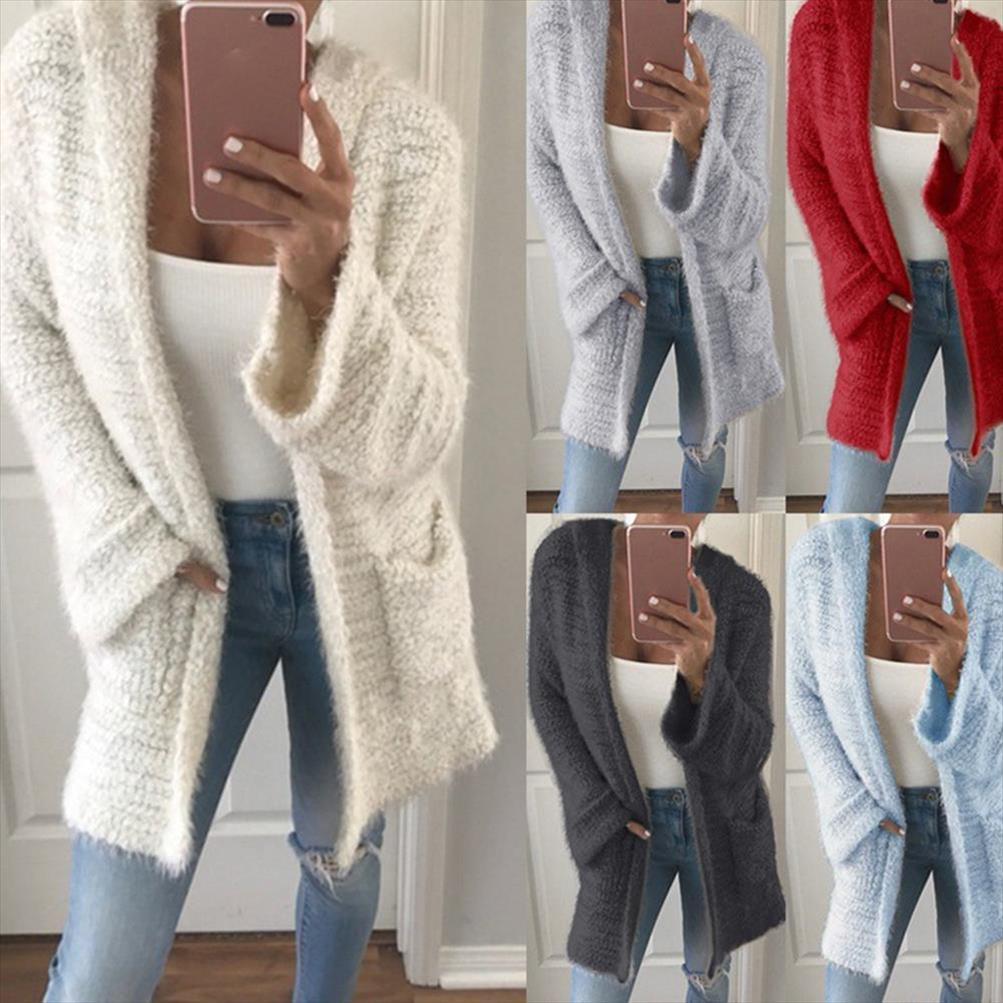 Fleece Cardigan Donne Maglione sottile cappuccio casual maglione cardigan femminile autunno-inverno caldo jersey lungo lavorato a maglia Maglioni mujer