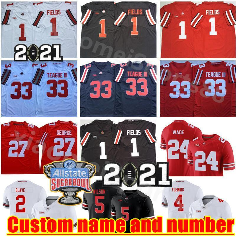 NCAA Ohio State Buckeyes Futbol 5 Garrett Wilson Jersey 1 Justin Fields 2 Chris Olave 4 Julian Fleming Master Teague III Eddie George