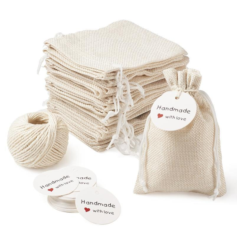 1set Burlap Packing Pouches Drawstring Bags With Jewelry Display Kraft Paper Price Tags And Hemp Cord Twine String For bbybFV