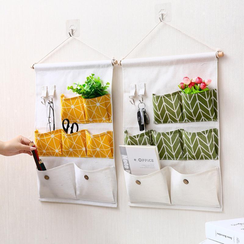 Nordic Простая хлопчатобумажная подвесная сумка для хранения 7 карманов настенный шкаф висит сумка стены сумка косметические игрушки организатор для кухни1