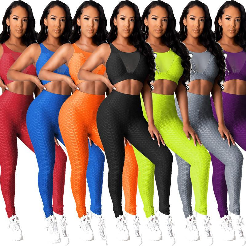 womens tracksuit 2 two piece outfits sexy Net yarn backless sportswear vest leggings pants set yoga joggers sweatsuits plus size clothing