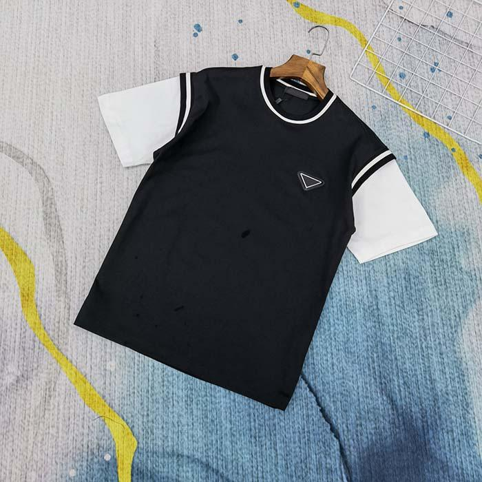 Erkek Tasarımcı İlkbahar Yaz Üçgen Tee T Gömlek Moda Hoodies Erkek Kadın Rahat Pamuk T-Shirt Siyah 05