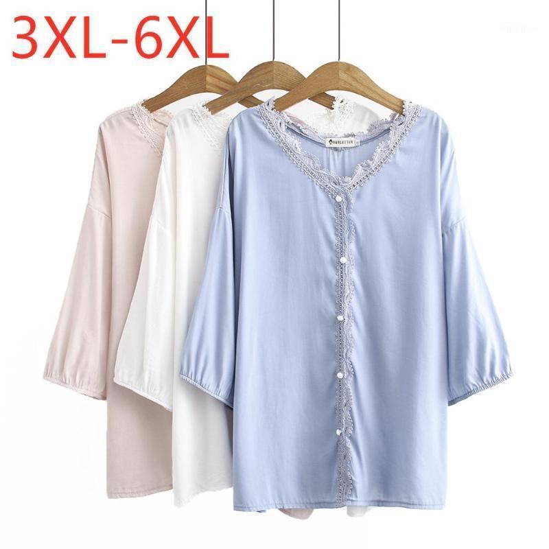 Nuevo 2020 Ladies Summer Plus Tamaño Tops para mujeres Blusa grande Casual Flojo Pink Button Button Lace V CAMISETA 3XL 4XL 5XL 6XL1