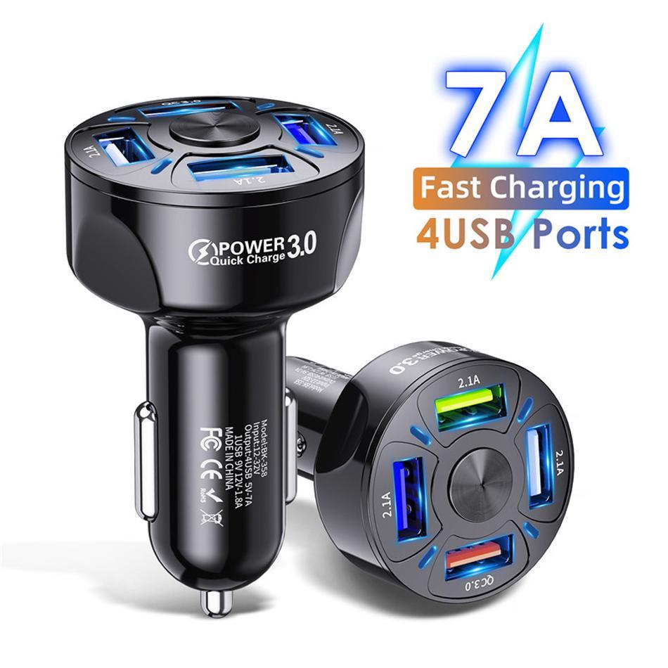 7A Caricabatterie per auto 4 Porti USB Universale Fast Charging QC3.0 Accendisigari per auto per il caricatore del telefono cellulare Adattatore in auto