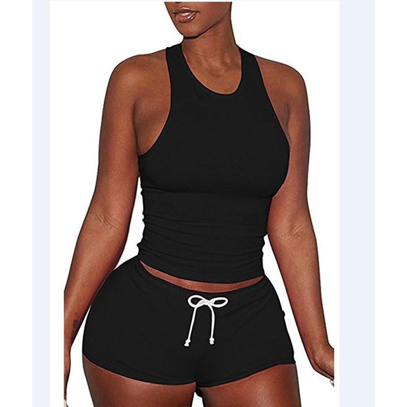 Estate 2021 Donne Fashion Sport Set Set da donna Casual Donne Suit Sexy Solid Solid Slim Vest Delle Delle Delle Delle Delle Delle Donne Gilet Top + Pantaloncini con coulisse