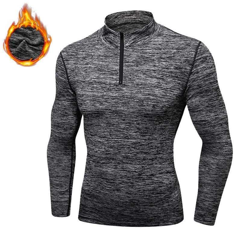 Men's Hoodies & Sweatshirts Men Quick Dry Cap Hoodie Sweatshirt Sporting Fitness Tight Rashgard Shirt Gymming Cashmere Thick Plus Velvet Run