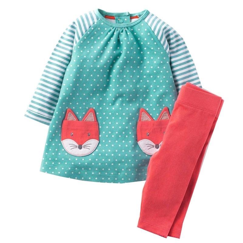 Medidores de salto Otoño Invierno Cotton Girls Conjuntos de ropa con apliques de animales Dot Niños Trajes para niños Dress + Leggings Trajes 201126