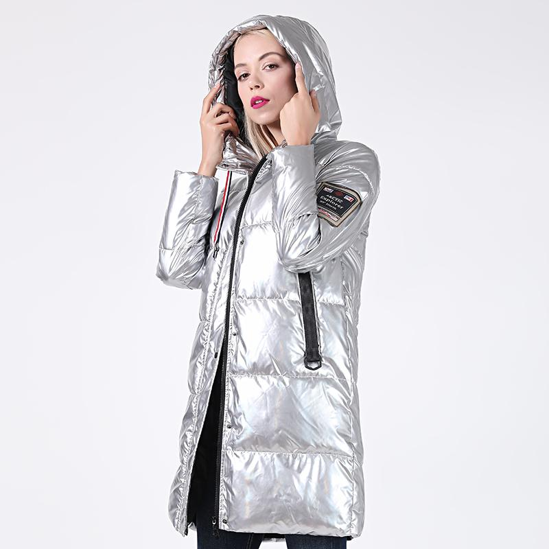Casaco de Inverno do revestimento do inverno Mulheres Silver Holographic Glitter Plus Size com capuz Mulheres com capuz Grosso jaquetas Parka 201015