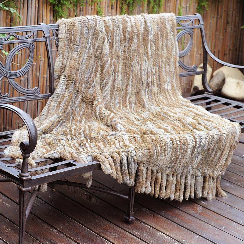 CX-D-20F Зимний теплый диван бросок ручной вязаный натуральный меховой меховой мех бросить одеяло
