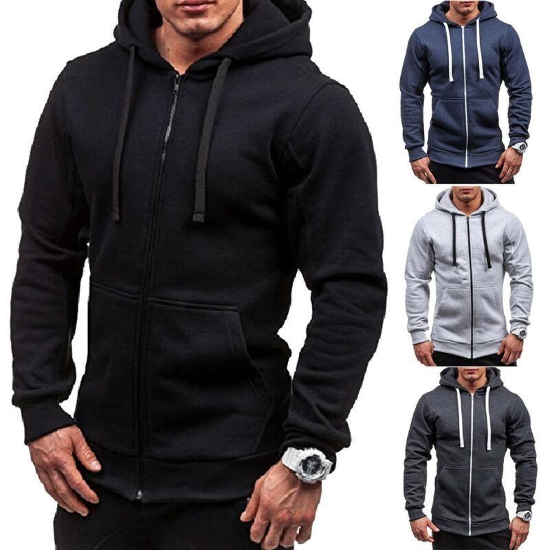 Men Hooded New Coat Autumn Winter Warm Casual Pocket Hooded Sweatshirt Slim Fit Outerwear Mens Zipper Hoodie Sportswear