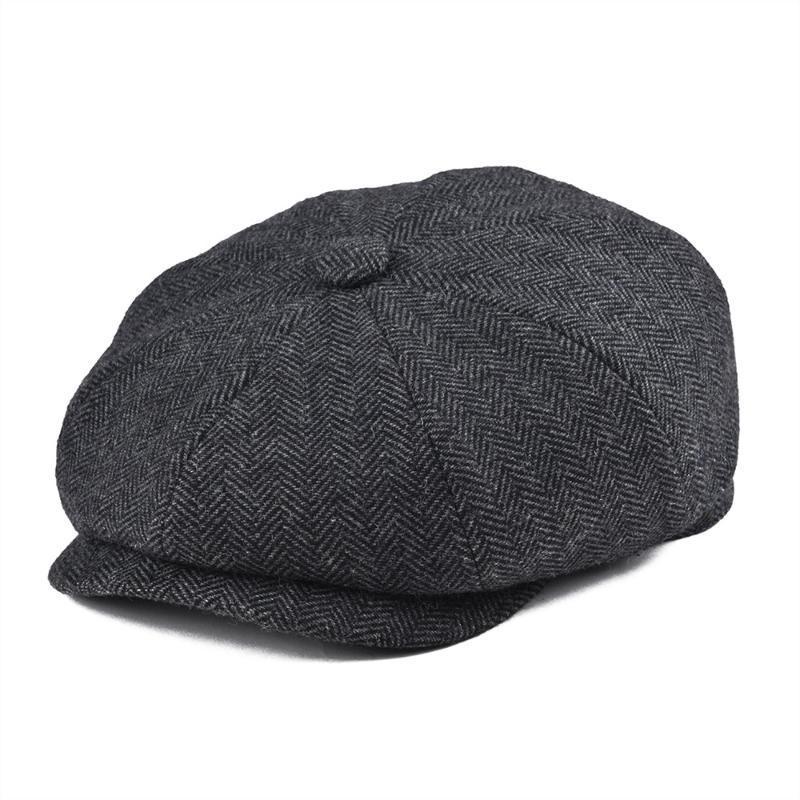 BOTVELA Tweed de lana de 8 piezas Negro espiga Newsboy los hombres del casquillo clásico de 8-cuarto panel plana del estilo de los casquillos de las mujeres sombrero de la boina 005