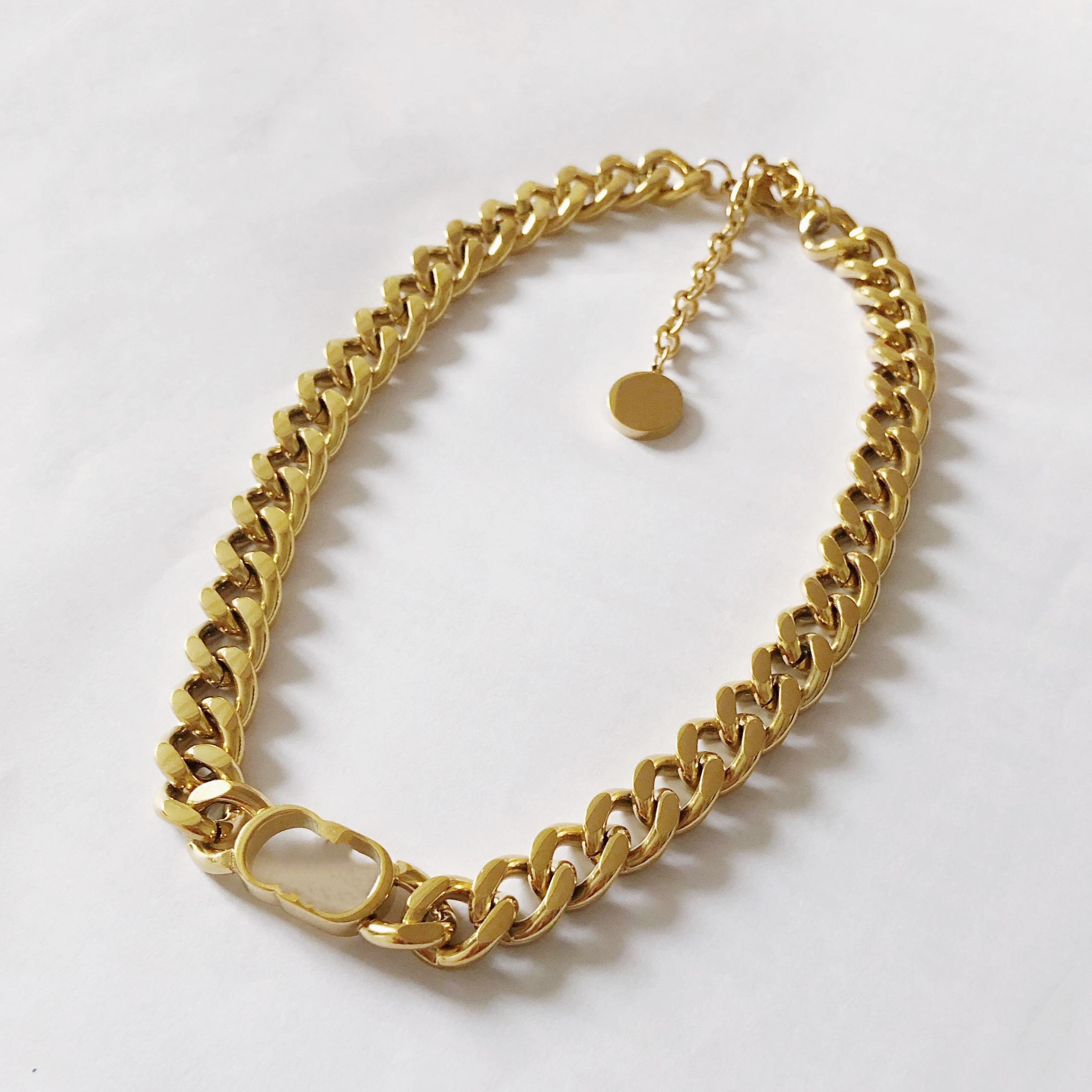 Designer de luxe bijoux ensembles boucles d'oreilles de mode Collier bracelet pour femmes et hommes argent or de la chaîne épaisse en acier inoxydable non fondue