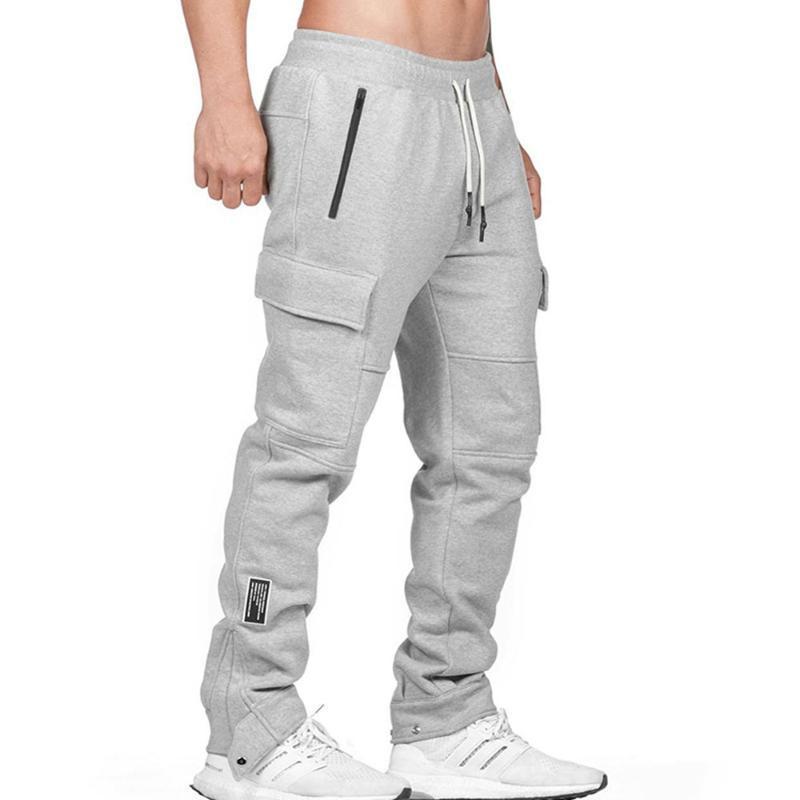 La primavera y el otoño de los nuevos hombres de deportes de gran tamaño sueltos Multi-bolsillo de los pantalones ocasionales de los hombres al aire libre Correr Pantalones aptitud