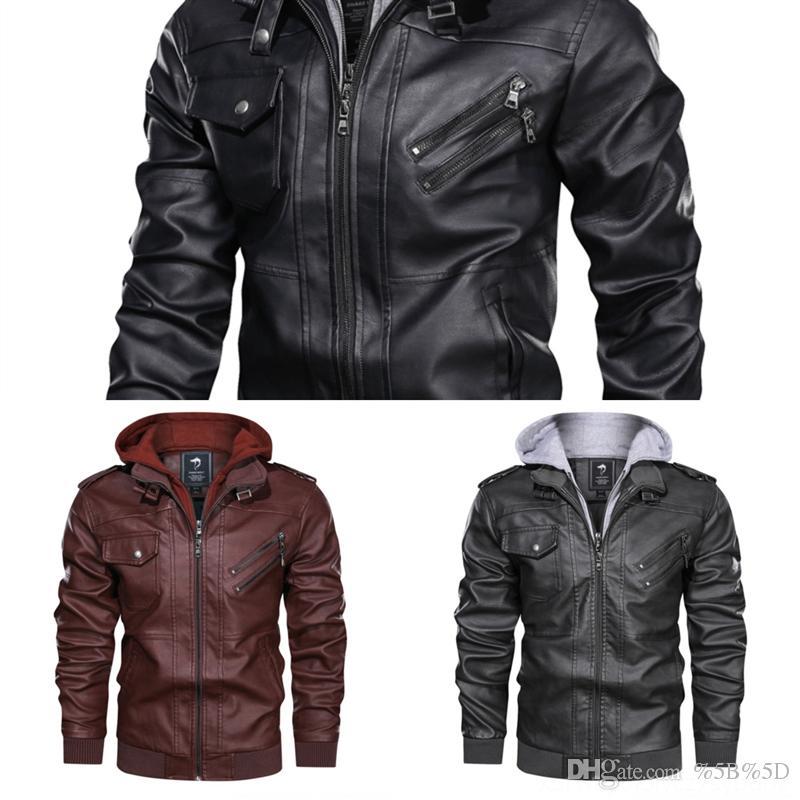BYLS Otoño Invierno Nuevo Diseñador de Moda Diseñador Real Fit Real Genuine Mens Jacket Slim Coat Cuero Biker New Vintage Chaqueta Abrigo