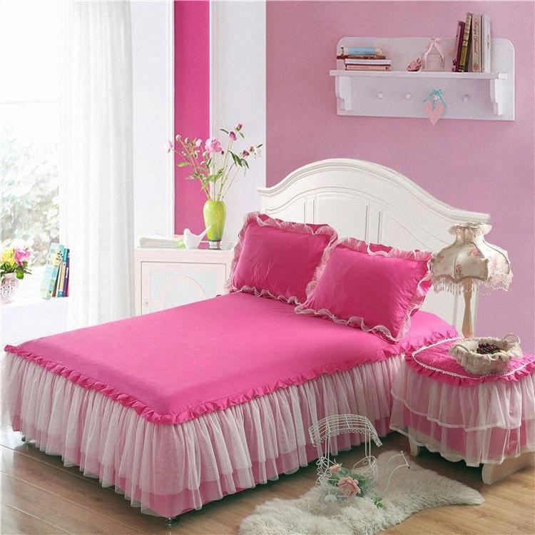 Moderne Princess Bed Rock Solide weiche Spitze-Rand Bedspread Spitze Bett Rock + Kissen- Bettwäsche-Set mit Rüschen Spannbettuch l0ng #