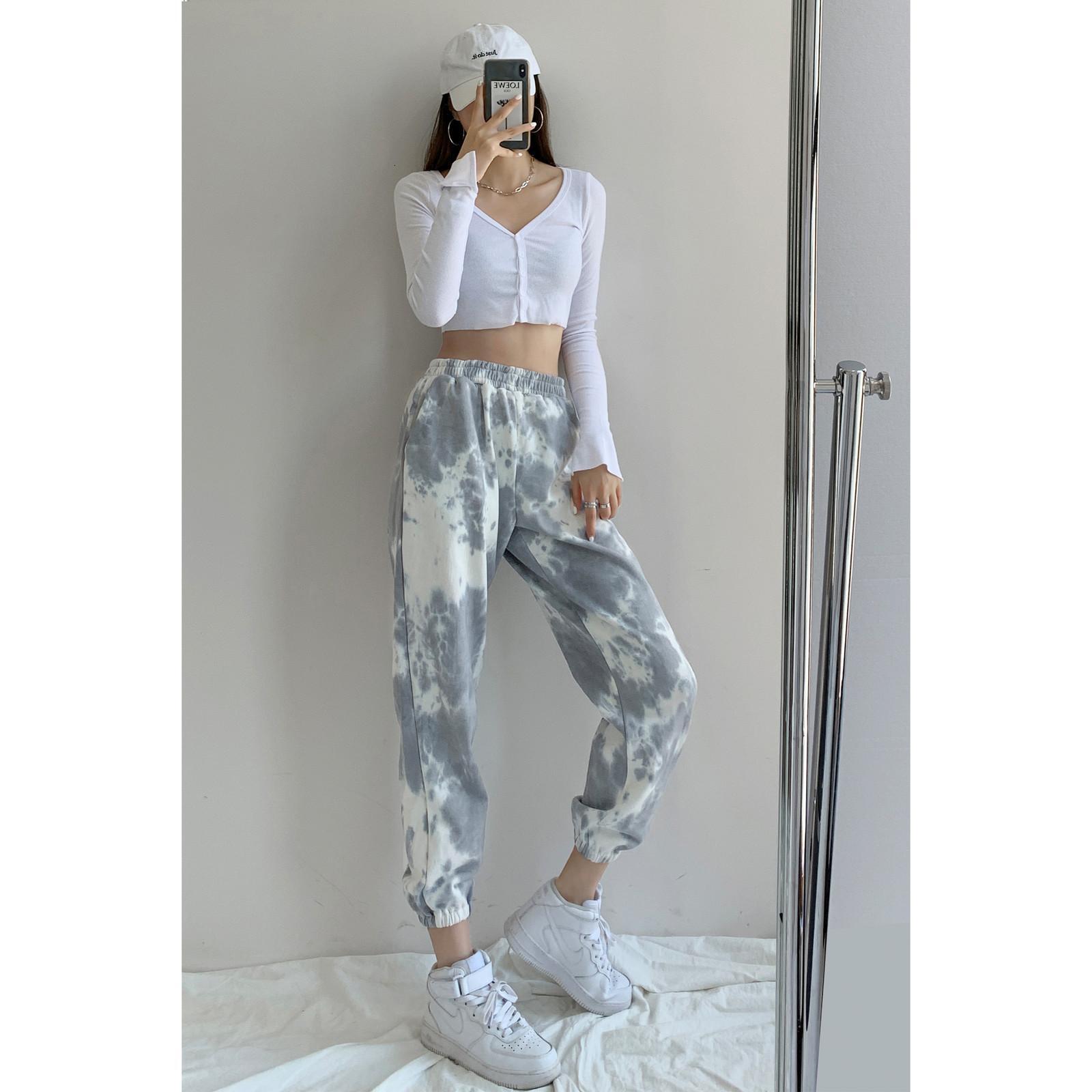2021 Neue Frauen Europäische amerikanische Sweat-Tie-gefärbte Herbst- und Winter-elastische Taillenhose auf 831N